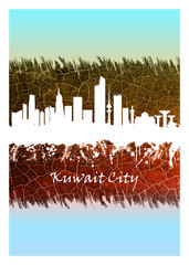 Wall Mural - Kuwait City skyline Blue and White