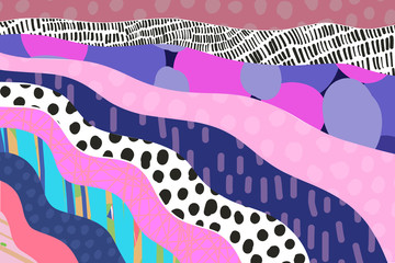 Textured cartoon hand drawn cartoon background. Vibrant colors and different forms.