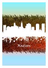 Fotomurales - Madison skyline Blue and White