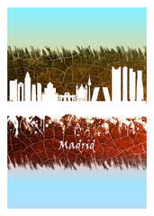 Wall Mural - Madrid skyline Blue and White