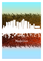 Wall Mural - Medellin skyline Blue and White