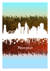 Fototapete - Memphis skyline Blue and White