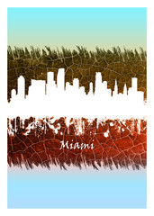 Wall Mural - Miami skyline Blue and White