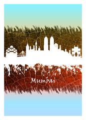 Fotomurales - Mumbai skyline Blue and White
