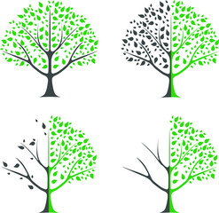 Environmental protection - set template of a tree for nature protection. Tree with leaves and falling leaves, divided in half into two parts. Half the tree is healthy, half is sick. Ecology.