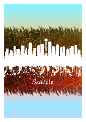 Fotomurales - Seattle skyline Blue and White