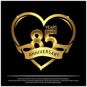 85 years anniversary golden. anniversary template design for web, game ,Creative poster, booklet, leaflet, flyer, magazine, invitation card - Vector