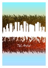 Wall Mural - Tel Aviv skyline Blue and White