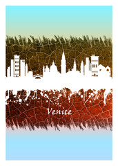 Wall Mural - Venice skyline Blue and White