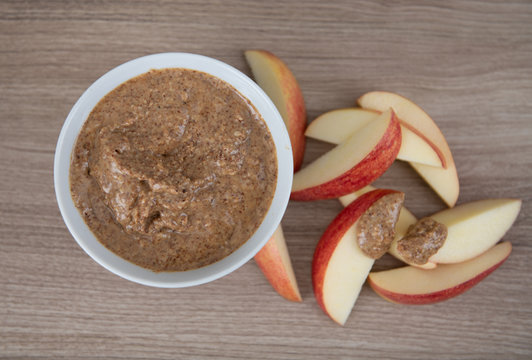 Coarse Ground Fresh Almond Butter with Sliced Apples for Snacking