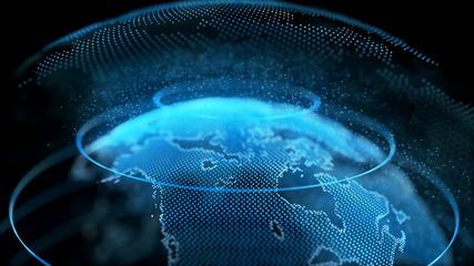 Obraz Motion Earth Digital Globe Transparent Surface. Planet Rotation Smaller Object Inside World Map Future Scientific Technology. Business Concept Universe Exploration Concept 3D Animation - fototapety do salonu