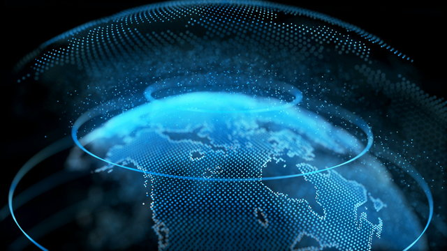 Motion Earth Digital Globe Transparent Surface. Planet Rotation Smaller Object Inside World Map Future Scientific Technology. Business Concept Universe Exploration Concept 3D Animation