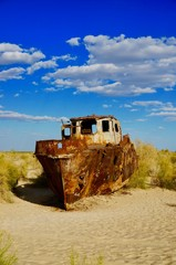 Ship graveyard in the dried up Aral Sea