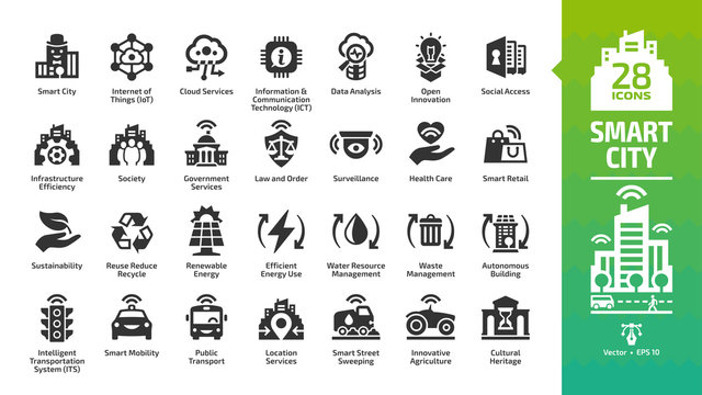 Smart city icon set with infrastructure efficiency technology, future digital urban, autonomous building and home, internet of things, cloud computing, innovation business and transport glyph symbols.