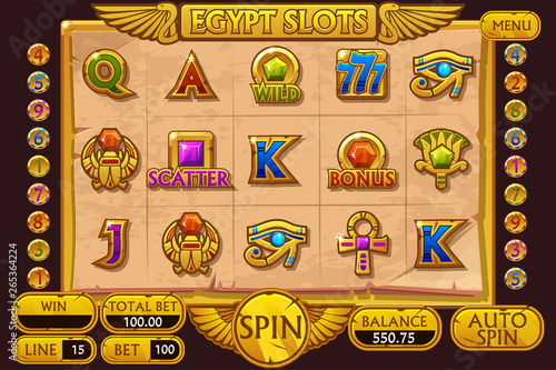 EGYPT style Casino slot machine game  Vector complete