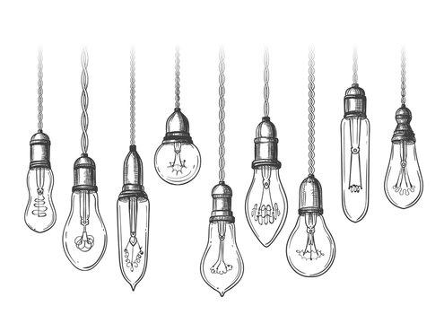 Vintage lightbulbs sketch