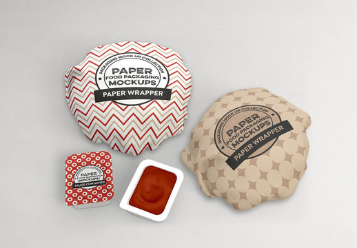2 Burger Wrappers and 2 Sauce Packets Mockup