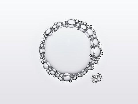 Bulles de savon en macrophotographie, bulles de taille variable connectées entre elles sur un fond neutre