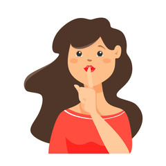 Shhh... Pretty woman keeps fingers on lips, demonstrates silence sign, has a secret isolated vector illustration