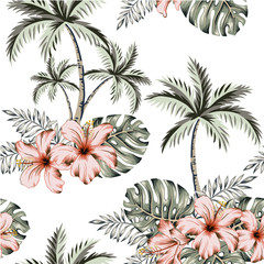 Tropical hibiscus flowers, monstera palm leaves bouquets, palm trees, white background. Vector seamless pattern. Jungle illustration. Exotic plants. Summer beach floral design. Paradise nature