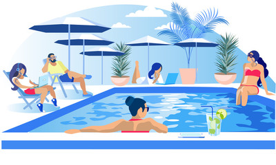 Pool Party Rest Summertime Invitation Flat Banner