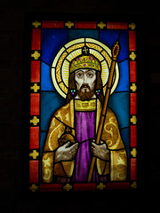 Stained glass window of a religious figure in St. Stephen's Basilica; Budapest, Budapest, Hungary