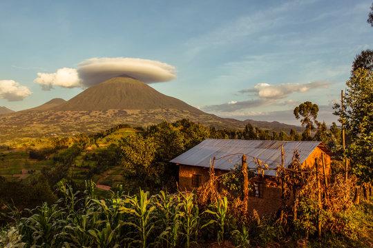 Lenticular cloud over a mountain in Volcanoes National Park; Rwanda