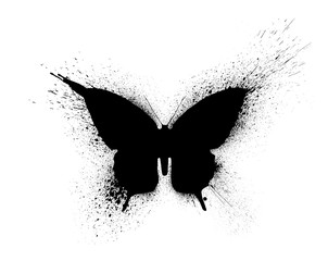 Photo sur Toile Papillons dans Grunge Black silhouette of a butterfly with paint splashes and blots, isolated on a white background.