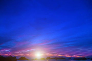 Purple sunset sunrise summer. Ha Long Bay, Cat Ba Island, Vietnam