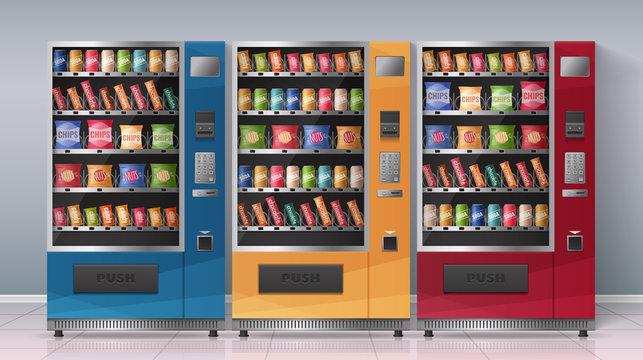 Vending Machines Realistic Vector Illustration