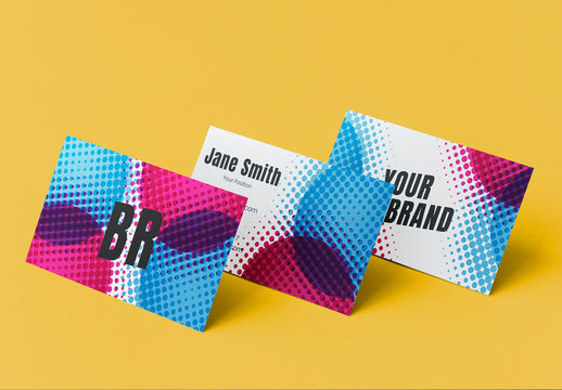 Business Card Layout with Pop Art Elements