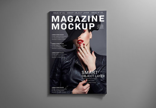 Magazine Cover on Grey Mockup