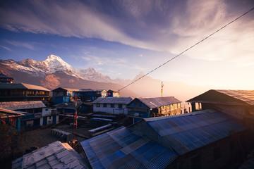 Tadapani village. Annapurna area mountains in the Himalayas of Nepal Wall mural