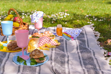 Colored plastic dishes and fruit basket, outdoor picnic sandwiches in the park. Nice sunny day and summer lunch.