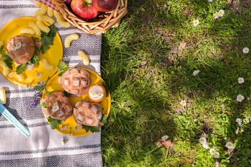 Fruit basket and picnic snacks. Sunny day in the park and green grass with flowers.