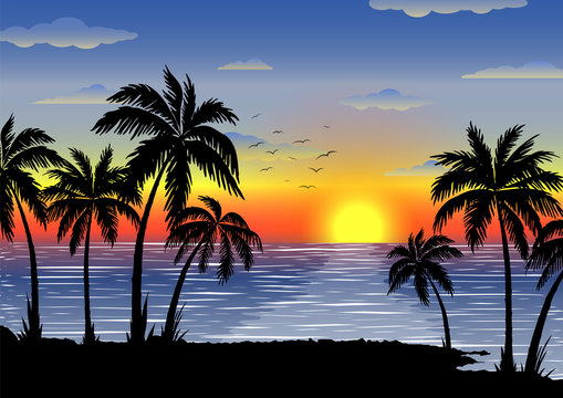 Exotic tropical  landscape with  palms. Palm trees at sunset or moonlight. Seascape. Tourism and travelling. Vector flat design