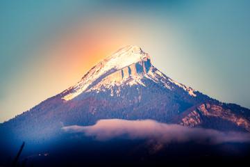 Couché de soleil sur les Alpes