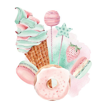 watercolor sweets collection.