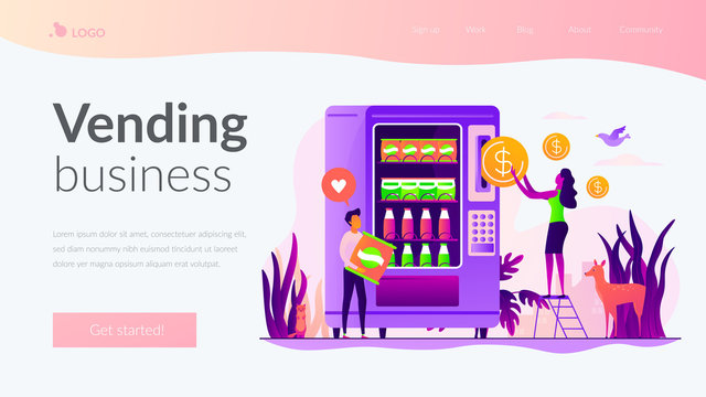 Tiny people consumers buying snacks and drinks in vending machine. Vending machine service, vending business, self-service machine concept. Website homepage header landing web page template.