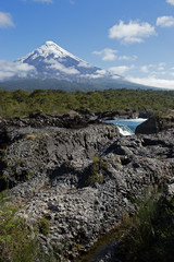 Osorno Volcano and Petrohue Waterfall, Los Largos, Chile