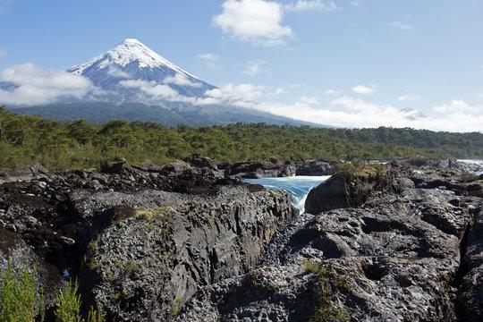 Osorno Volcano and Petrohue Waterfall, Los Largos, Chile