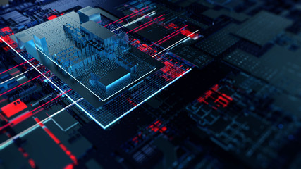 Wall Mural - Circuit board futuristic server code processing. Orange,  green, blue technology background with bokeh. 3d Illustration