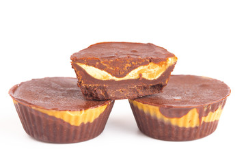 Chocolate Peanut Butter Cups on a White Background