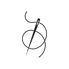 needle thread loop line illustration logo vector