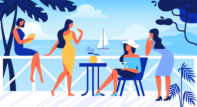 Women Relaxing on Open Air Terrace with Sea View.