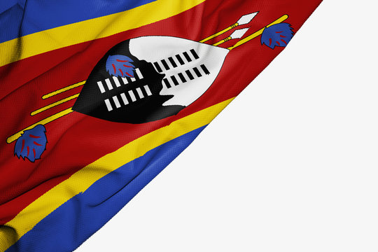 Swaziland flag of fabric with copyspace for your text on white background.