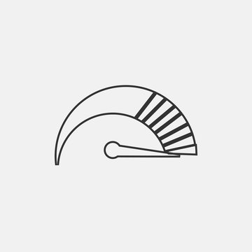 Speedometer vector icon solid grey