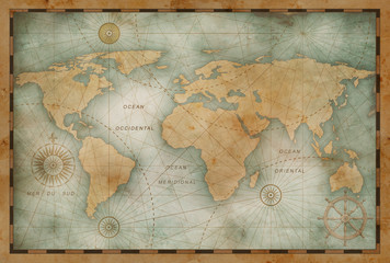 Wall Mural - Ancient world map illustration based on image furnished by NASA