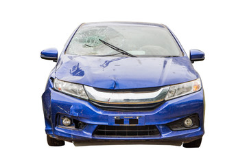 Foto op Canvas Snelle auto s blue car crash from accident,car destroyed isolated on white background,insurance concept.