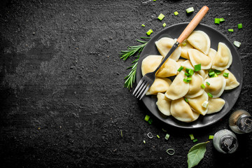 Dumplings with spices, rosemary and green onions.